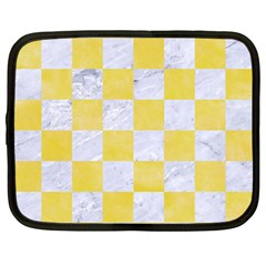 Square1 White Marble & Yellow Watercolor Netbook Case (large) by trendistuff