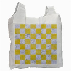 Square1 White Marble & Yellow Watercolor Recycle Bag (two Side)  by trendistuff
