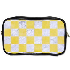 Square1 White Marble & Yellow Watercolor Toiletries Bags by trendistuff