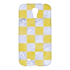 Square1 White Marble & Yellow Watercolor Samsung Galaxy S4 I9500/i9505 Hardshell Case by trendistuff