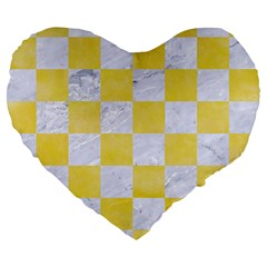 Square1 White Marble & Yellow Watercolor Large 19  Premium Flano Heart Shape Cushions by trendistuff