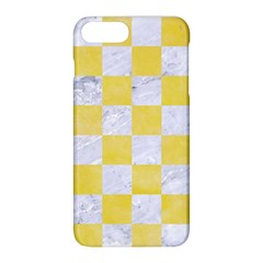 Square1 White Marble & Yellow Watercolor Apple Iphone 8 Plus Hardshell Case by trendistuff