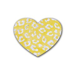 Skin5 White Marble & Yellow Watercolor (r) Heart Coaster (4 Pack)  by trendistuff