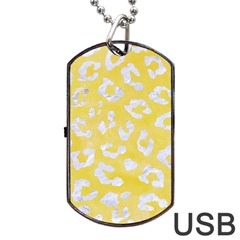 Skin5 White Marble & Yellow Watercolor (r) Dog Tag Usb Flash (one Side) by trendistuff