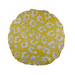 Skin5 White Marble & Yellow Watercolor (r) Standard 15  Premium Flano Round Cushions by trendistuff