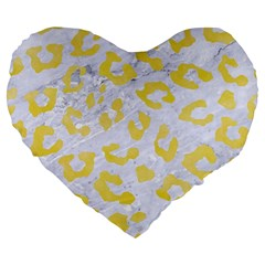 Skin5 White Marble & Yellow Watercolor Large 19  Premium Heart Shape Cushions by trendistuff