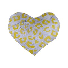 Skin5 White Marble & Yellow Watercolor Standard 16  Premium Flano Heart Shape Cushions by trendistuff