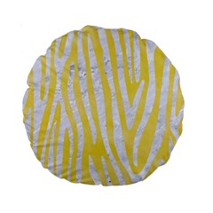 Skin4 White Marble & Yellow Watercolor (r) Standard 15  Premium Flano Round Cushions by trendistuff