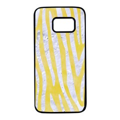 Skin4 White Marble & Yellow Watercolor (r) Samsung Galaxy S7 Black Seamless Case by trendistuff