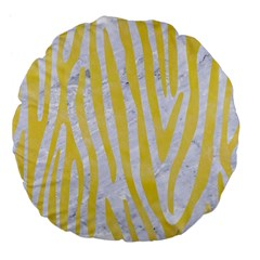 Skin4 White Marble & Yellow Watercolor Large 18  Premium Flano Round Cushions by trendistuff