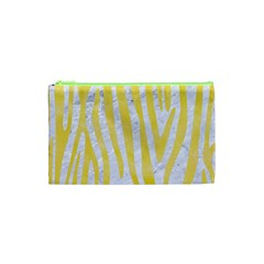Skin4 White Marble & Yellow Watercolor Cosmetic Bag (xs) by trendistuff
