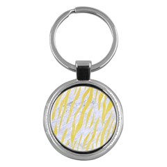Skin3 White Marble & Yellow Watercolor (r) Key Chains (round)  by trendistuff