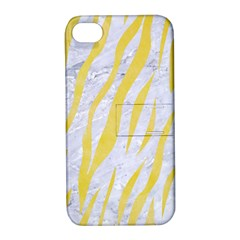Skin3 White Marble & Yellow Watercolor (r) Apple Iphone 4/4s Hardshell Case With Stand by trendistuff