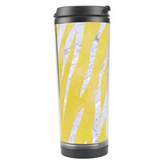 Skin3 White Marble & Yellow Watercolor Travel Tumbler by trendistuff