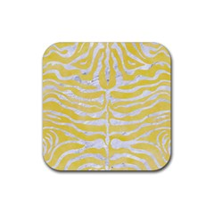 Skin2 White Marble & Yellow Watercolor Rubber Square Coaster (4 Pack)
