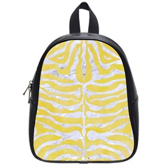 Skin2 White Marble & Yellow Watercolor School Bag (small) by trendistuff