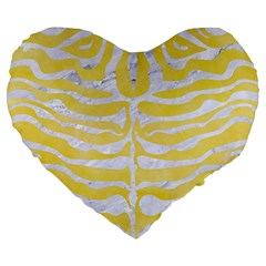 Skin2 White Marble & Yellow Watercolor Large 19  Premium Heart Shape Cushions by trendistuff