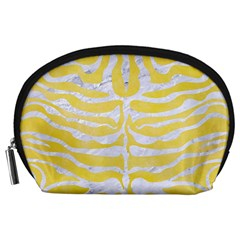 Skin2 White Marble & Yellow Watercolor Accessory Pouches (large)  by trendistuff