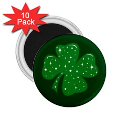 Sparkly Clover 2 25  Magnets (10 Pack)  by Valentinaart