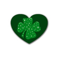 Sparkly Clover Rubber Coaster (heart)  by Valentinaart
