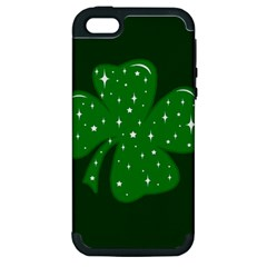 Sparkly Clover Apple Iphone 5 Hardshell Case (pc+silicone) by Valentinaart