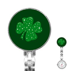 Sparkly Clover Stainless Steel Nurses Watch by Valentinaart