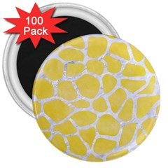 Skin1 White Marble & Yellow Watercolor (r) 3  Magnets (100 Pack) by trendistuff