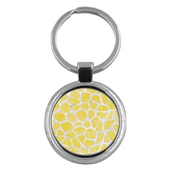 Skin1 White Marble & Yellow Watercolor (r) Key Chains (round)  by trendistuff
