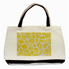Skin1 White Marble & Yellow Watercolor (r) Basic Tote Bag by trendistuff