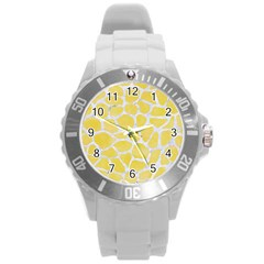 Skin1 White Marble & Yellow Watercolor (r) Round Plastic Sport Watch (l) by trendistuff