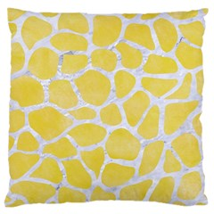 Skin1 White Marble & Yellow Watercolor (r) Large Cushion Case (two Sides) by trendistuff