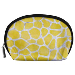 Skin1 White Marble & Yellow Watercolor (r) Accessory Pouches (large)  by trendistuff