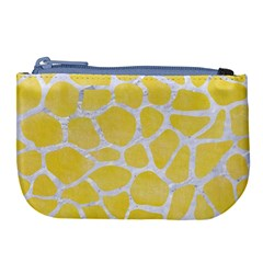 Skin1 White Marble & Yellow Watercolor (r) Large Coin Purse by trendistuff