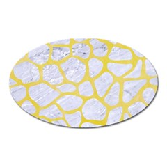 Skin1 White Marble & Yellow Watercolor Oval Magnet by trendistuff