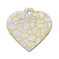 Skin1 White Marble & Yellow Watercolor Dog Tag Heart (two Sides) by trendistuff
