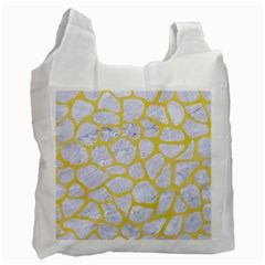 Skin1 White Marble & Yellow Watercolor Recycle Bag (two Side)  by trendistuff