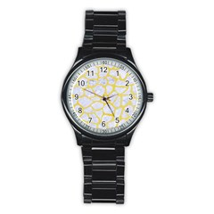 Skin1 White Marble & Yellow Watercolor Stainless Steel Round Watch by trendistuff