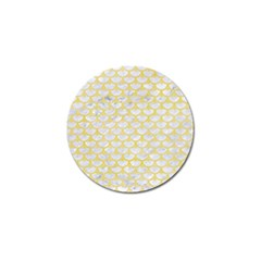 Scales3 White Marble & Yellow Watercolor (r) Golf Ball Marker (10 Pack) by trendistuff