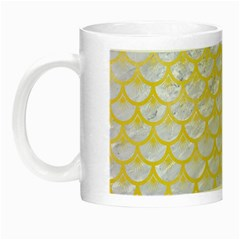 Scales3 White Marble & Yellow Watercolor (r) Night Luminous Mugs by trendistuff