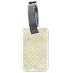 Scales3 White Marble & Yellow Watercolor (r) Luggage Tags (two Sides) by trendistuff