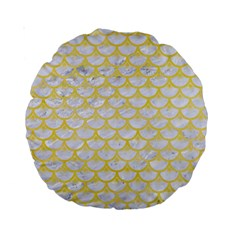 Scales3 White Marble & Yellow Watercolor (r) Standard 15  Premium Round Cushions by trendistuff