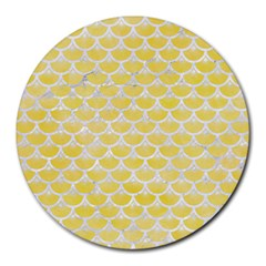 Scales3 White Marble & Yellow Watercolor Round Mousepads by trendistuff