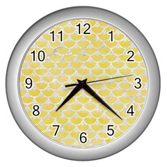 Scales3 White Marble & Yellow Watercolor Wall Clocks (silver)  by trendistuff