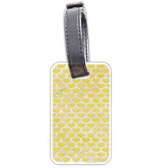 Scales3 White Marble & Yellow Watercolor Luggage Tags (two Sides) by trendistuff