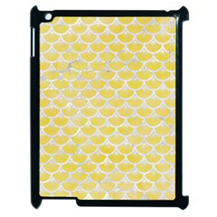 Scales3 White Marble & Yellow Watercolor Apple Ipad 2 Case (black) by trendistuff