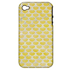 Scales3 White Marble & Yellow Watercolor Apple Iphone 4/4s Hardshell Case (pc+silicone) by trendistuff