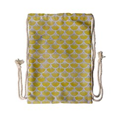 Scales3 White Marble & Yellow Watercolor Drawstring Bag (small) by trendistuff