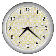Scales2 White Marble & Yellow Watercolor (r)scales2 White Marble & Yellow Watercolor (r) Wall Clocks (silver)  by trendistuff