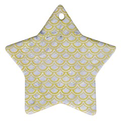 Scales2 White Marble & Yellow Watercolor (r)scales2 White Marble & Yellow Watercolor (r) Star Ornament (two Sides) by trendistuff