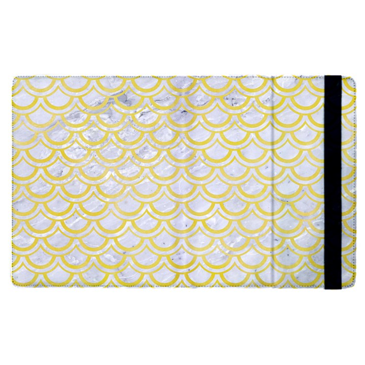SCALES2 WHITE MARBLE & YELLOW WATERCOLOR (R)Scales2 White Marble & Yellow Watercolor (r) Apple iPad Pro 12.9   Flip Case